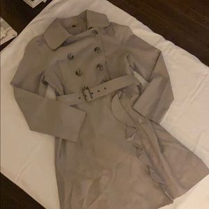 Gray belted trench coat
